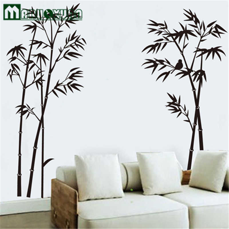 MARUOXUAN 1pc On Sale Ink Bamboo Painting Wall Sticker Living Room Vinyl Wall Poster Home Decoration DIY Wallpaper ...