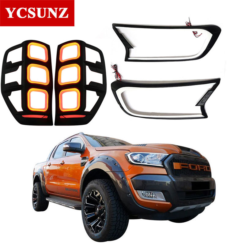 DRL LED Tail Lights Headlights Cover For Ford Ranger Wildtrak 2012 2019 T6 T7-in Body Kits from Automobiles & Motorcycles    1