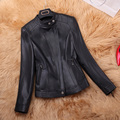 Winter Coat Women Genuine Leather Fashion Short Mandarin Collar Zipper Slim Female Jackets Winter Woman Jackets Leather RD5783