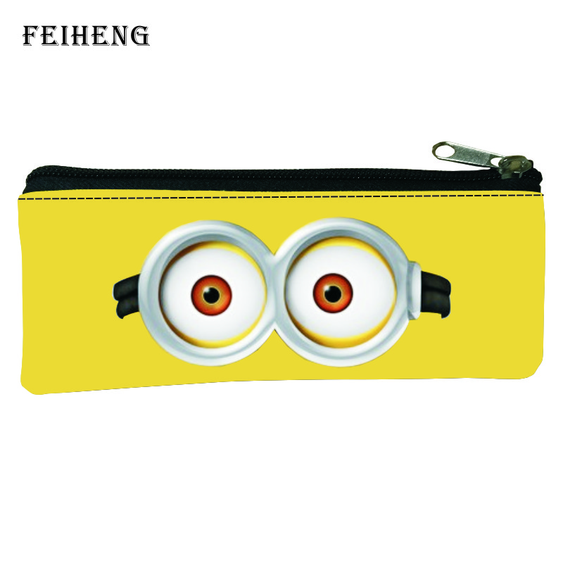 2016 Hot Prints Cartoon Minions Children School Pencil Bags for Kids Pen Bag Baby Girls Coin Purses Boys Key Wallet Womens Gift