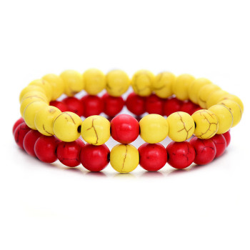 Classic Natural Stone Yin Yang Beaded Bracelets, 2Pcs/Set Bracelets Jewelry New Arrivals Women Jewelry Metal Color: yellow red