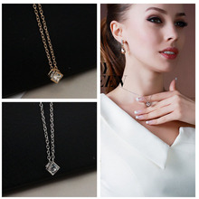2019 New Fashion Punk Happiness Rubik Cube Necklace Cubic Zirconia Pendant Jewelry Short Clavicle Chain Layered WD369