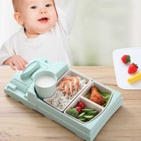 Baby Food Divided Plate Set Bamboo Fiber Storage Tray Cup Container Infant Feeding Kids Tableware AN88