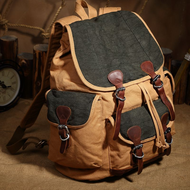 ФОТО Unisex Vintage Crazy Horse Leather Canvas Men's Backpack Girls Large Travel Military Canvas School Bag Rucksack Bagpack leather