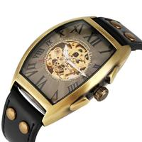Men's Automatic self winding Mechanical Watch Bronze Oval Case Arabic Numeral Hollow out Dial Wristwatch Mens Watches Top Brand