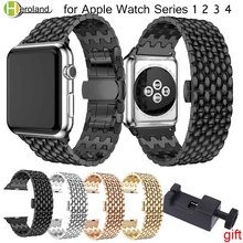 купить Luxury Stainless Steel watch Strap for apple watch band 42mm/38mm/44mm/40 link bracelet Watchband for iWatch 4/3/2/1 metal belt дешево