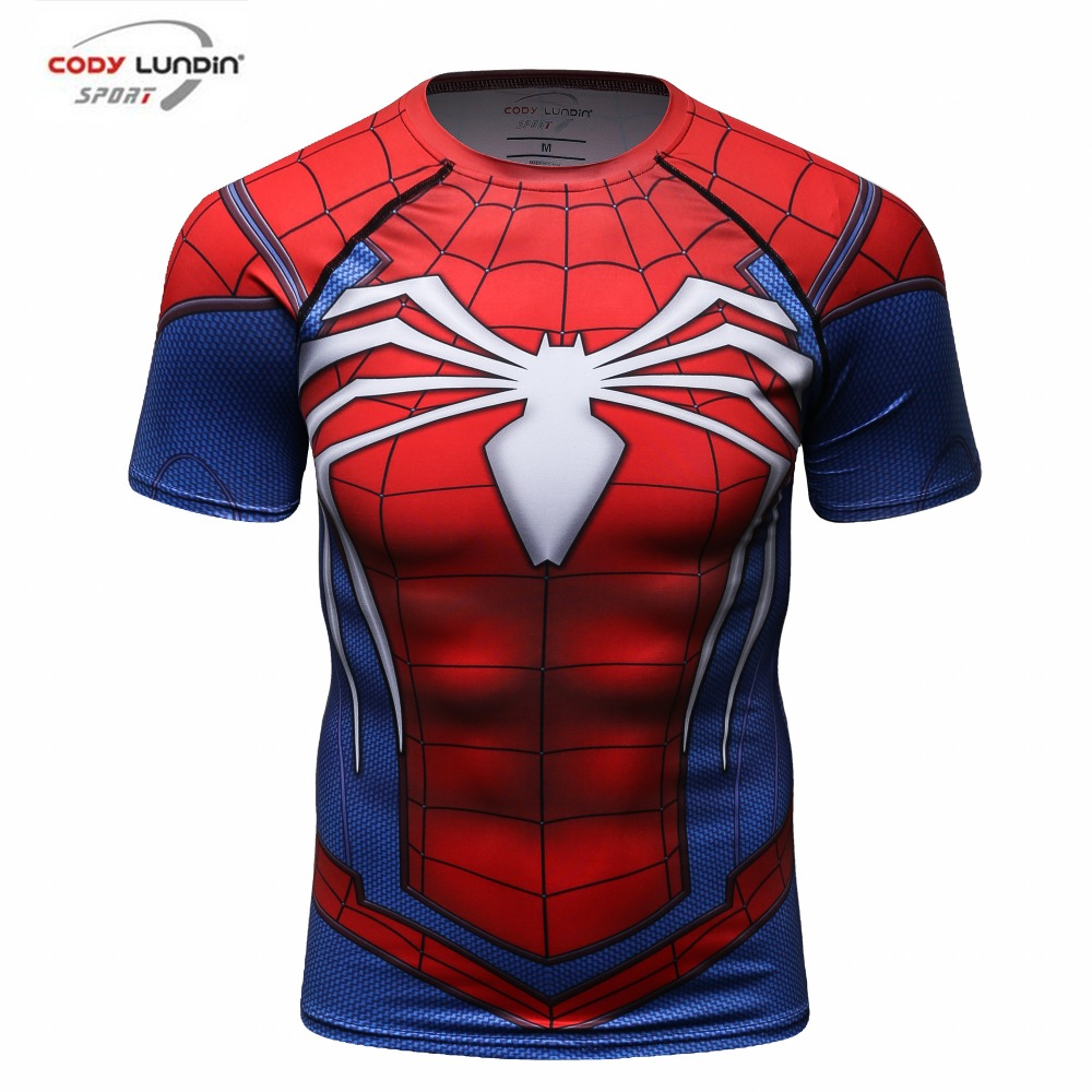 Professional compression men   t  -  shirts   3d-print top quality red spider / superman / batman   t  -  shirt   mens fitness   t     shirts