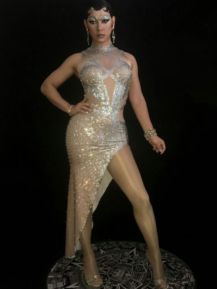 Stage Soirée Gris Couleur Cristaux Femmes Célébrez Scintillant Porter Nude Strass Argent Robe De Costume Nouveau Longue Sexy OlXuTwiPkZ