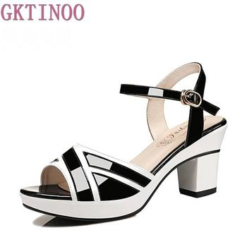 цена GKTINOO Women sandals Peep Toe buckle strap summer shoes woman fashion Thick high heels Gladiator sandals women Sandalias онлайн в 2017 году