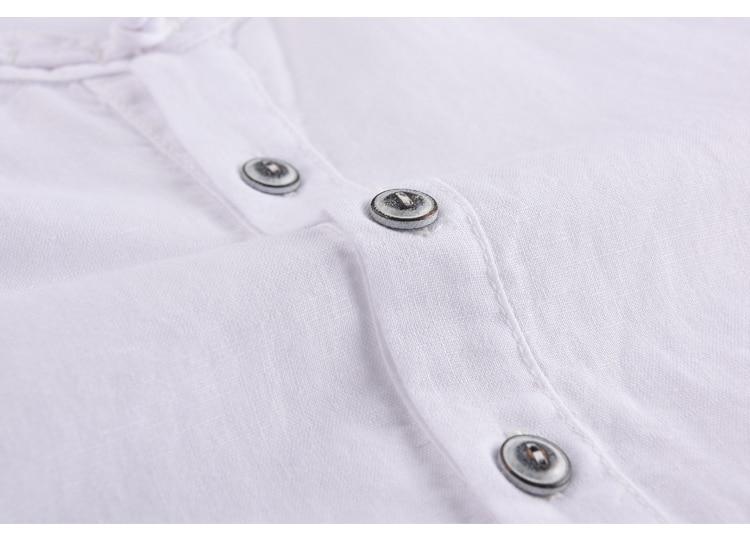 Lane moške majice z dolgimi rokavi, lanene majice s kratkimi rokavi, - Moška oblačila - Fotografija 4