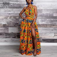 Kureas African Dashiki Dress National Print Tribal Summer Multi Way Shoulder Long Robe Elegant Vestidos Maxi Dress
