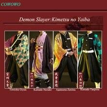 Anime!Demon Slayer:Kimetsu no Yaiba Kamado Tanjirou Agatsuma Zenitsu Tomioka Giyuu Kamado Nezuko Kimono Uniforms Cosplay Costume