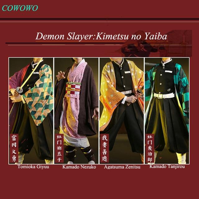 Anime! demon slayer: kimetsu não yaiba kamado tanjirou agatsuma zenitsu tomioka giyuu kamado nezuko quimono uniformes cosplay traje