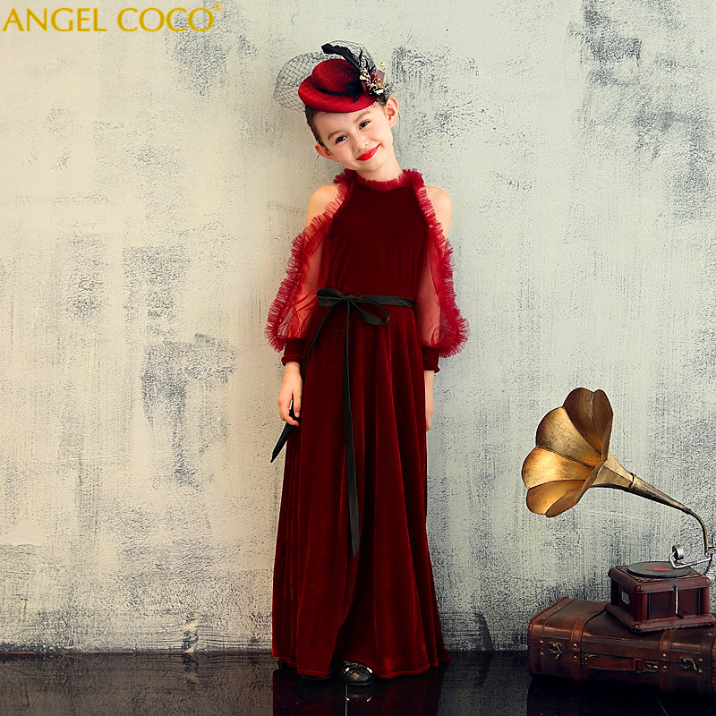 High-grade Gold Velvet wire embroidery Flower Girl Dress Lace Wedding Party Dress Princess Dresses Robe Fille Costume For Kids lace detail flower embroidery velvet cami dress