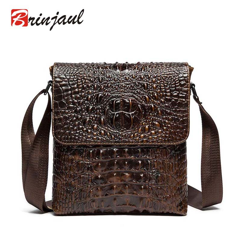 100% Genuine Leather Men bags crossbody bag Men Cow Leather Mens Messenger Bags Shoulder Bag Causal alligator pattern cx145