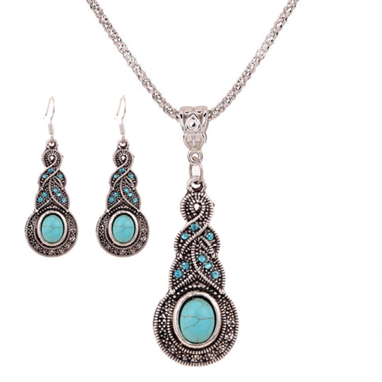 Le Yu Romantic Bridal Jewelry Sets For Women Zinc Alloy Necklace Earrings Turquoise Plant Set Auger Necklace Jewelry Set