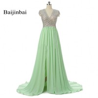 Long Evening Dresses 2016 Green Slit Crystals Beaded V Neck A Line Vestidos De Festa Prom