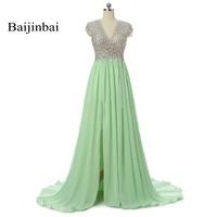Baijinbai Long Evening Dresses 2017 Green Slit Crystals Beaded V Neck A Line Vestidos De Festa Prom Party Dresses Custom SJ