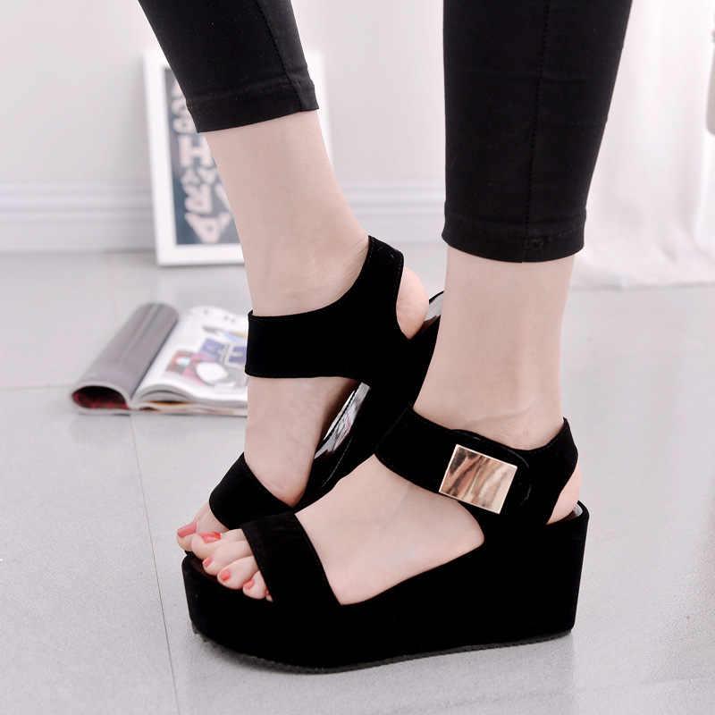 2019 รองเท้าแตะผู้หญิงรองเท้าฤดูร้อนผู้หญิง wedges แพลตฟอร์มรองเท้าแตะแฟชั่นปลาปากรองเท้าแตะโรมผู้หญิงสีขาวสีขาวรองเท้าสี