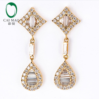 Caimao Jewelry 18k Yellow Gold 1.21ct Natural Diamonds Engagement Drop Earrings