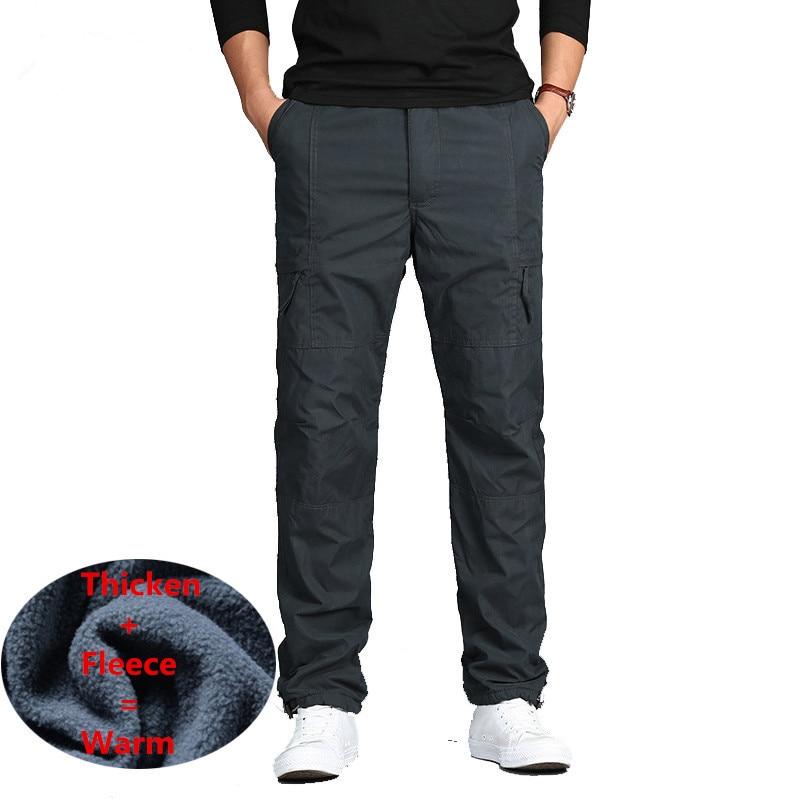 Men Winter Fleece Double Layer Cargo Pants Warm Baggy Pants Cotton Fleece Trousers  Male Military Camouflage Tactical Pants 3XL