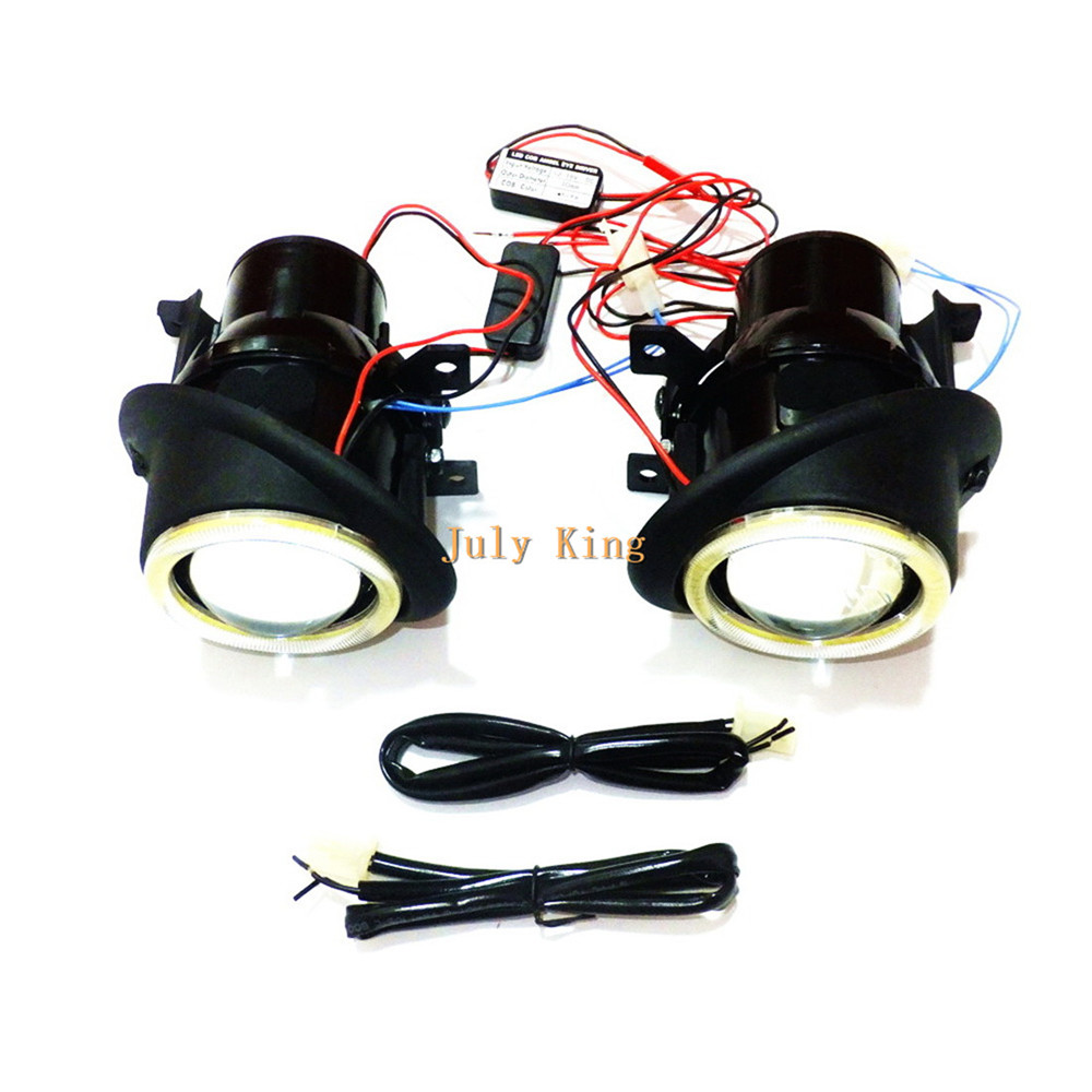 July King Bifocal Lens Fog Lamp Assembly + Angel Eye Rings DRL case for VW Caddy III Golf Jetta Sagitar Eos Tiguan Touran Seat