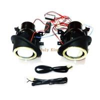 July King Bifocal Lens Fog Lamp Assembly + Angel Eye Rings DRL case for VW Caddy III Golf Jetta Sagitar Eos Tiguan Touran Seat