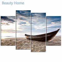 4 Panels Sea Beach Boat Sky Morden Painting Canvas Painting Wall Pictures For Living Room Seascape