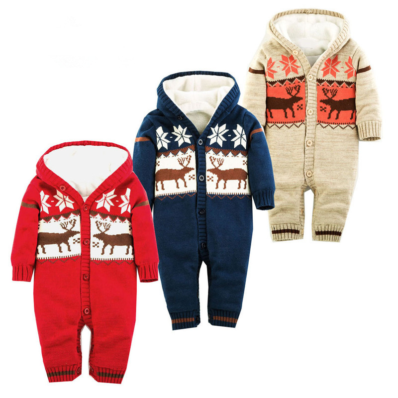 2017 Baby Rompers Winter Thick Climbing Clothes Newborn Boys Girls Warm Romper Knitted Sweater Christmas Deer Hooded Outwear 2017 baby rompers winter thick climbing clothes newborn boys girls warm romper knitted sweater christmas deer hooded outwear