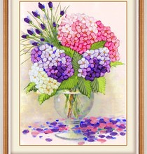 Needlework,Chinese DIY Ribbon Cross stitch Set for ribbon Embroidery kit, favor vase flower Cross-Stitch painting wall decor