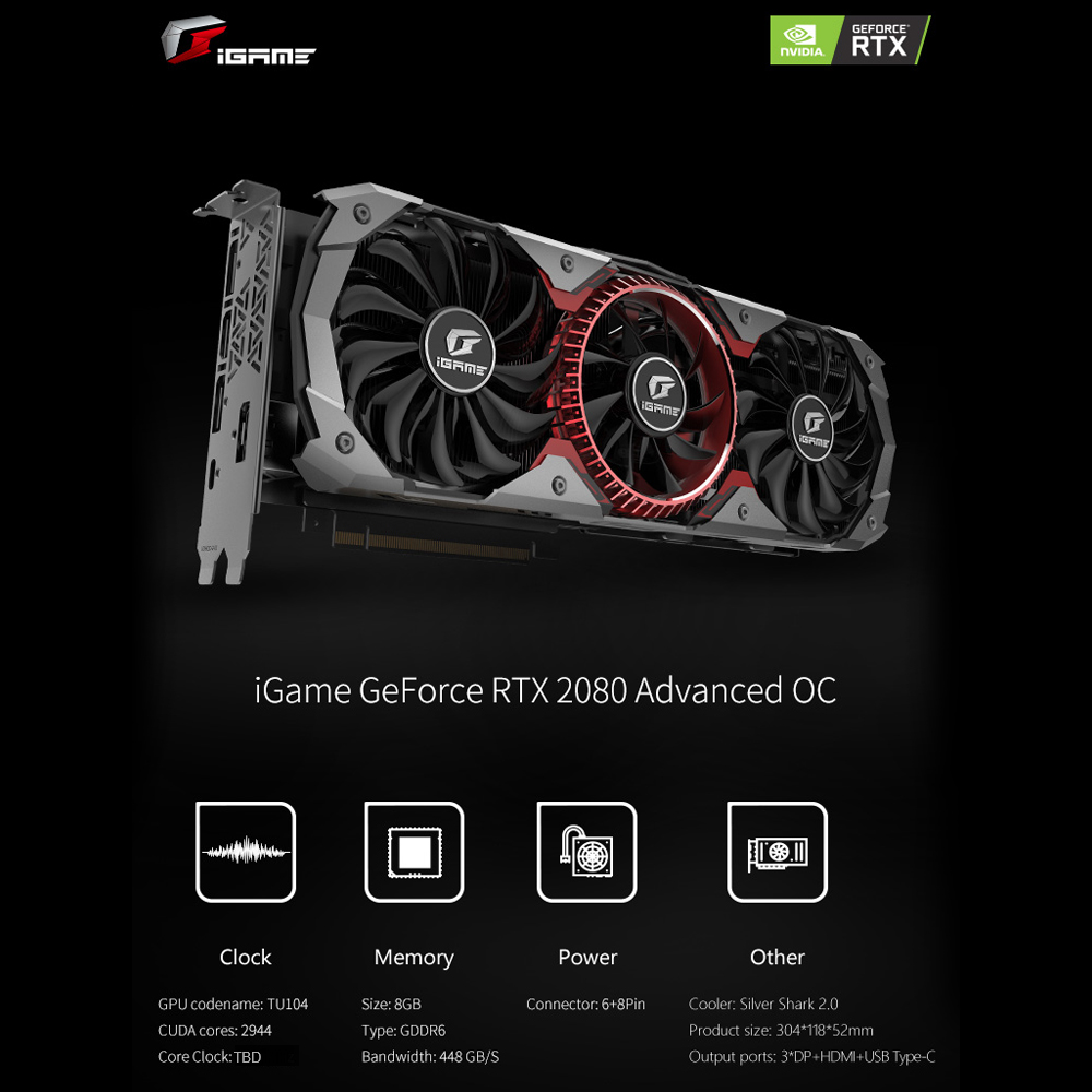 US $988 99 |Colorful GeForce RTX 2080 Advanced OC Graphic Card 256 Bit  GDDR6 8G For Nvidia GPU Gaming Video Graphics Card GDDR6 8GB 6+8Pin-in  Graphics