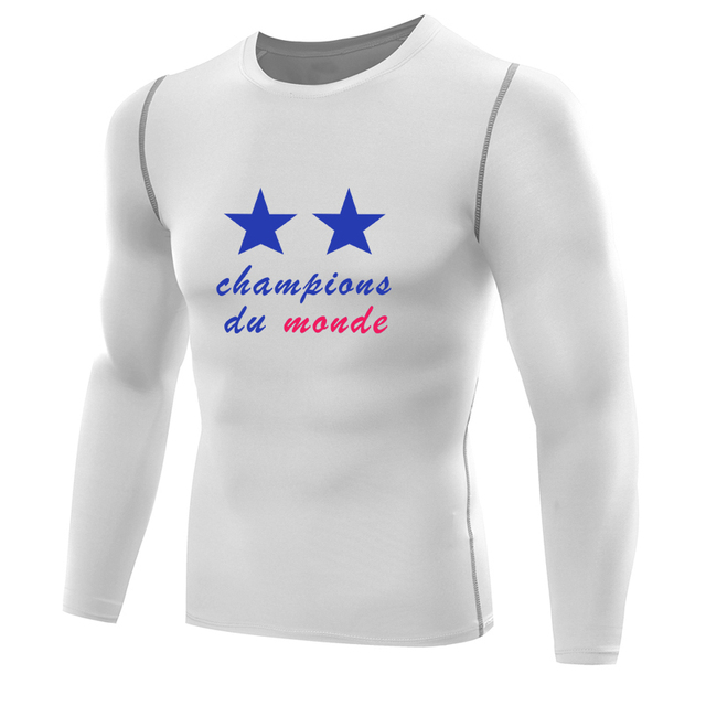 France 2018 World Champions Parade Compression Shirt For Pogba Mbappe Griezmann Giroud T Shirt Quick Dry T Shirt Base Layer In T Shirts From Men S