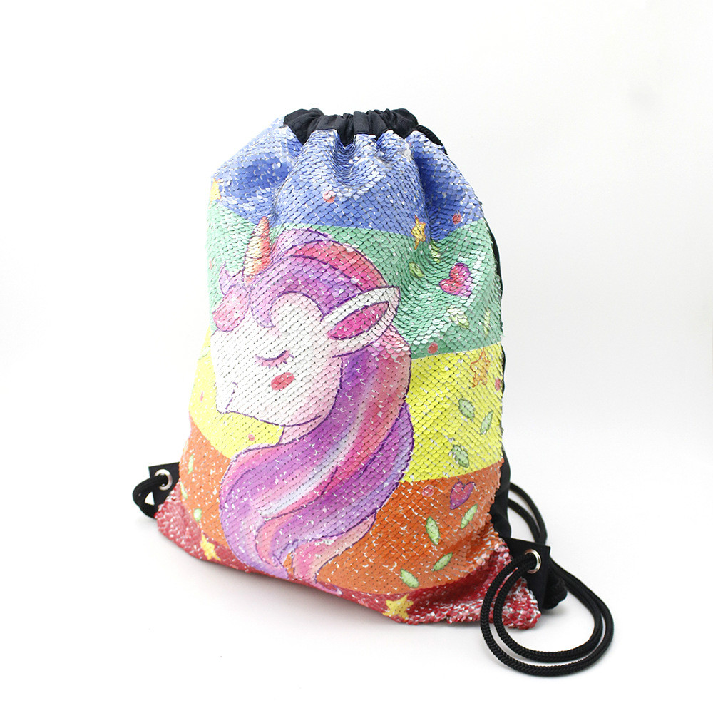 Купить с кэшбэком 3D Printing Unicorn Sequins Drawstring Bag for Girls Travel Beach Storage Package Kids Cartoon School Backpacks Children Party