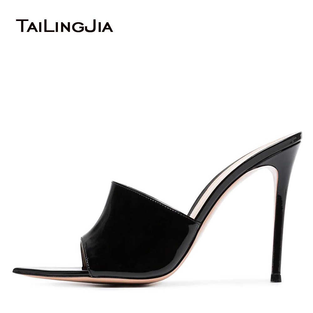 adb05442ca 2018 Woman Mules Sandals Slide Slippers Black Stiletto High Heels Slip On  Shoes Pointed Toe Patent