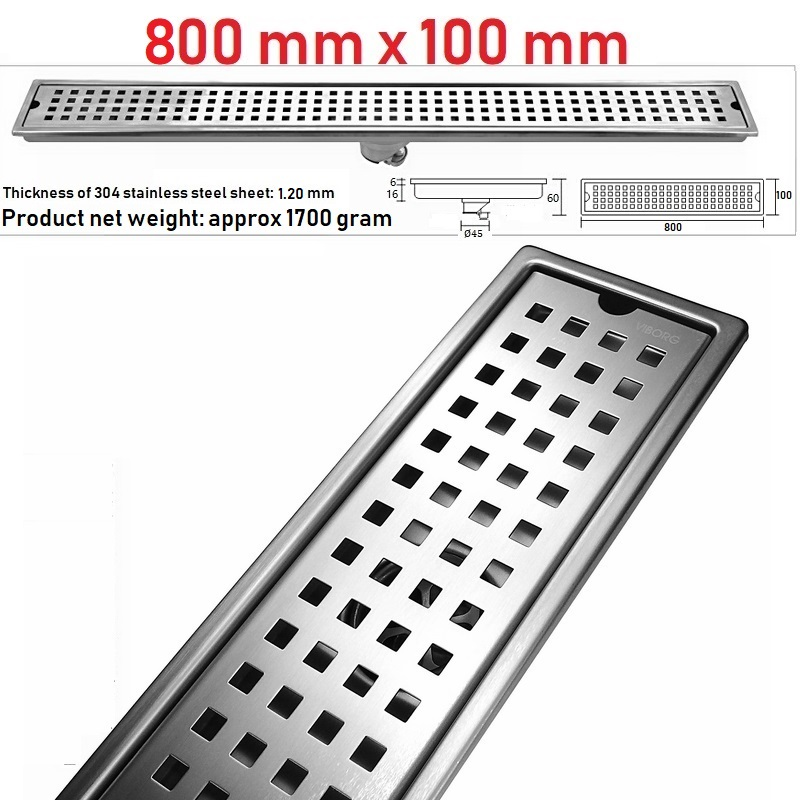 VIBORG 800mm x 100mm Deluxe 304 Stainless Steel Extra thick Rectangular Bathroom Shower Linear Floor Drain