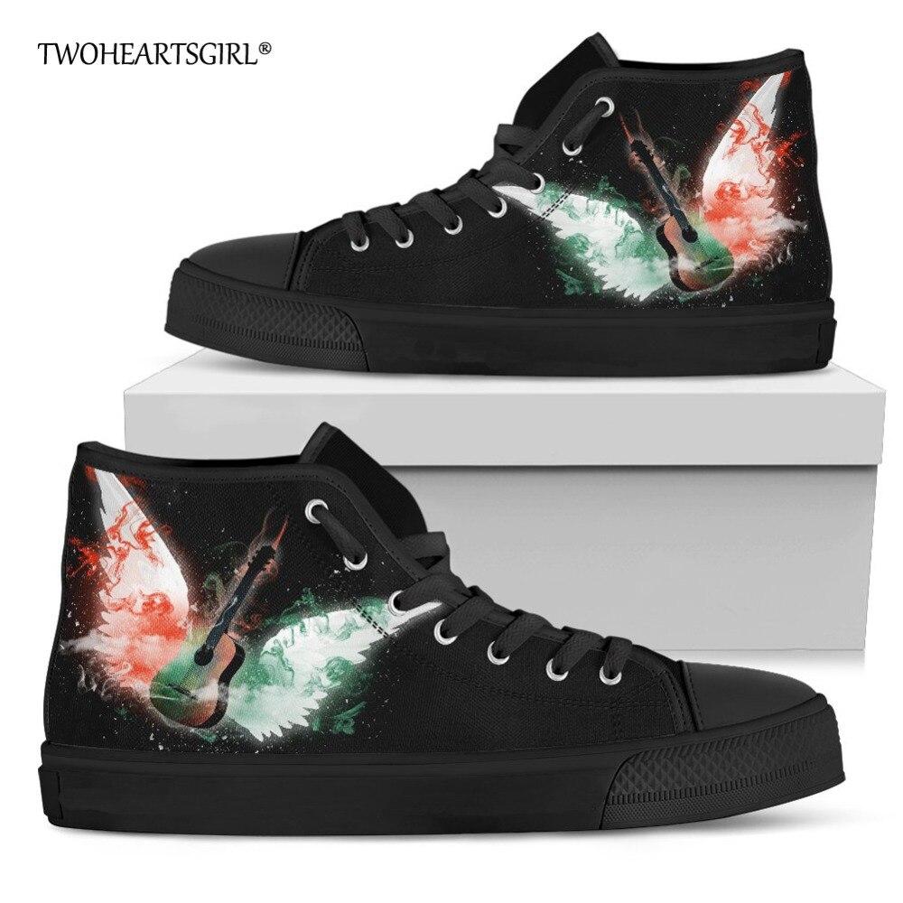 Chaussures de toile de modèle de guitare de mode de deuxceursgirl haut décontracté chaussures vulcanisées des femmes baskets plates classiques à lacets femme