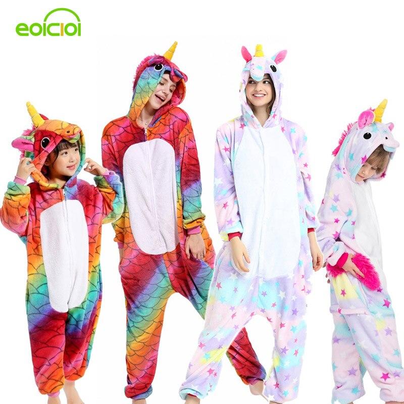 16 Style Flannel Animal Family Matching Pajamas Outfits Winter Hooded Pegasus Unicorn Panda Pyjamas Onesie Mother Kids Sleepwear