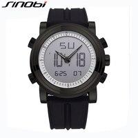 SINOBI Sport Analog LED Digital Watches Men Dual Time Waterproof Wristwatch Silicone Strap Fashion Male Clock