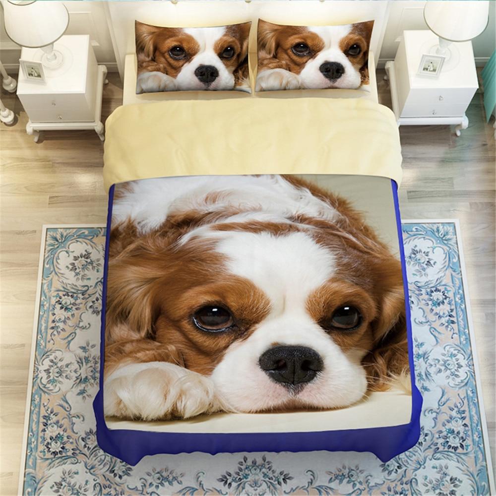 3D literie 3/4 ensembles housse de couette ensemble dessin animé Animal chien housse de couette gris draps de lit taie d'oreiller ensembles de literie twin queen king size