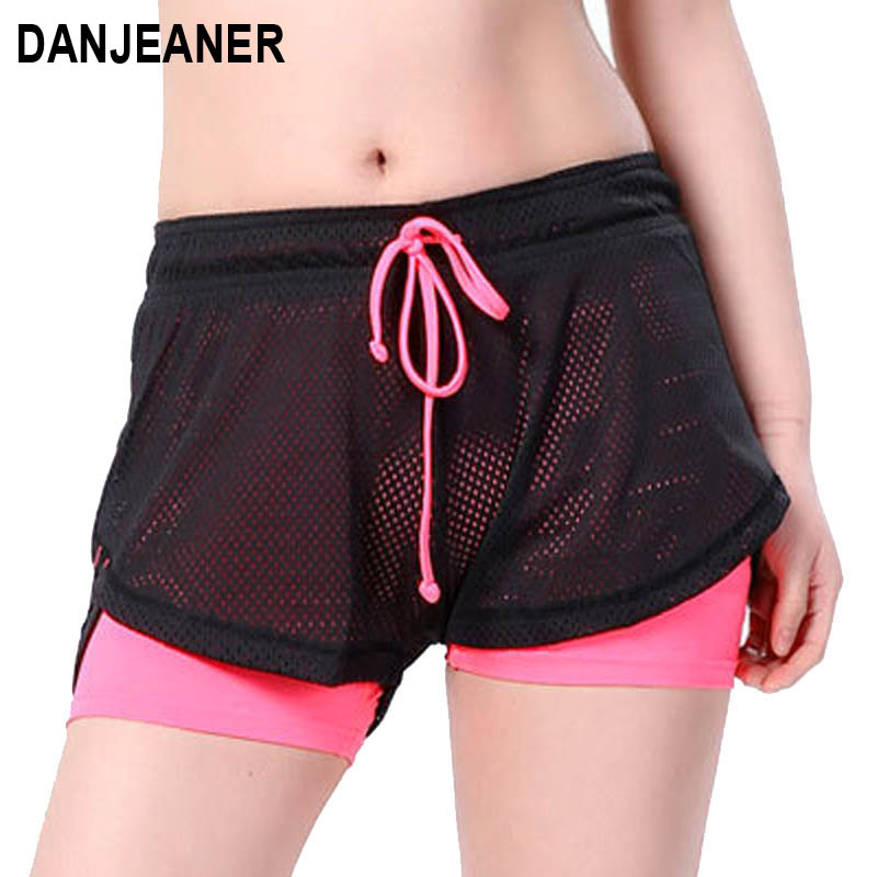 Danjeaner 2018 שכבה כפולה הקיץ סקיני מכנסיים קצרים כושר מוצקים נשים אלסטיים מזדמנים מכנסיים קצרים מכנסי ספורט Joggings יאגה