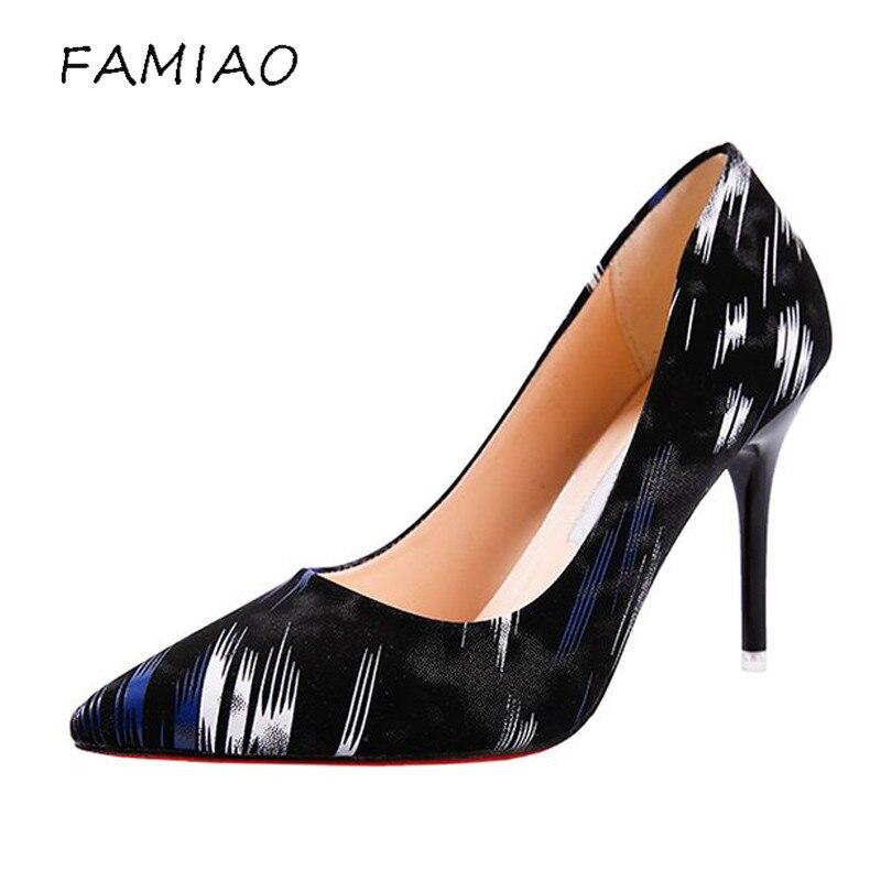 FAMIAO women brand pumps mix color high heel party shoes women brand pumps chaussure femme talon shoes woman Club Stiletto Shoes