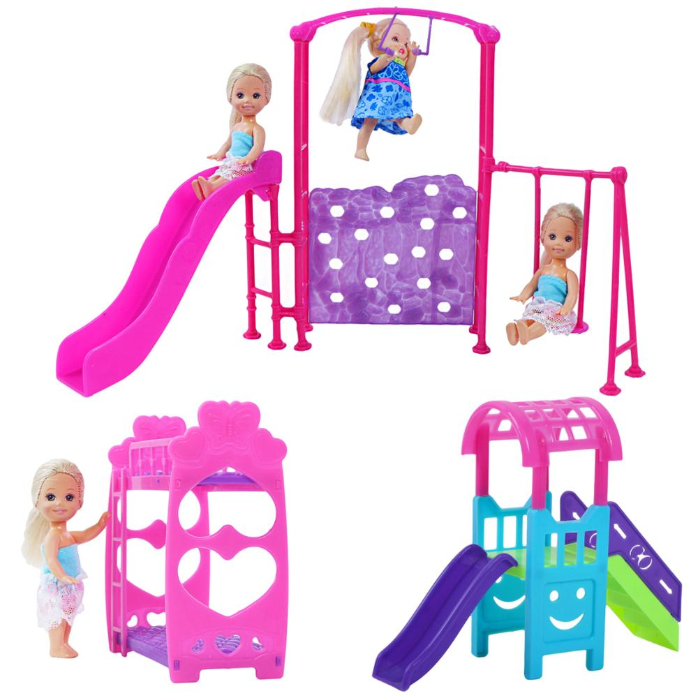 Fashion Mix Doll Accessories Double Bed Furniture Mini Swing Play Toy For Barbie Doll Kelly Doll Playhouse Kids DIY Toys