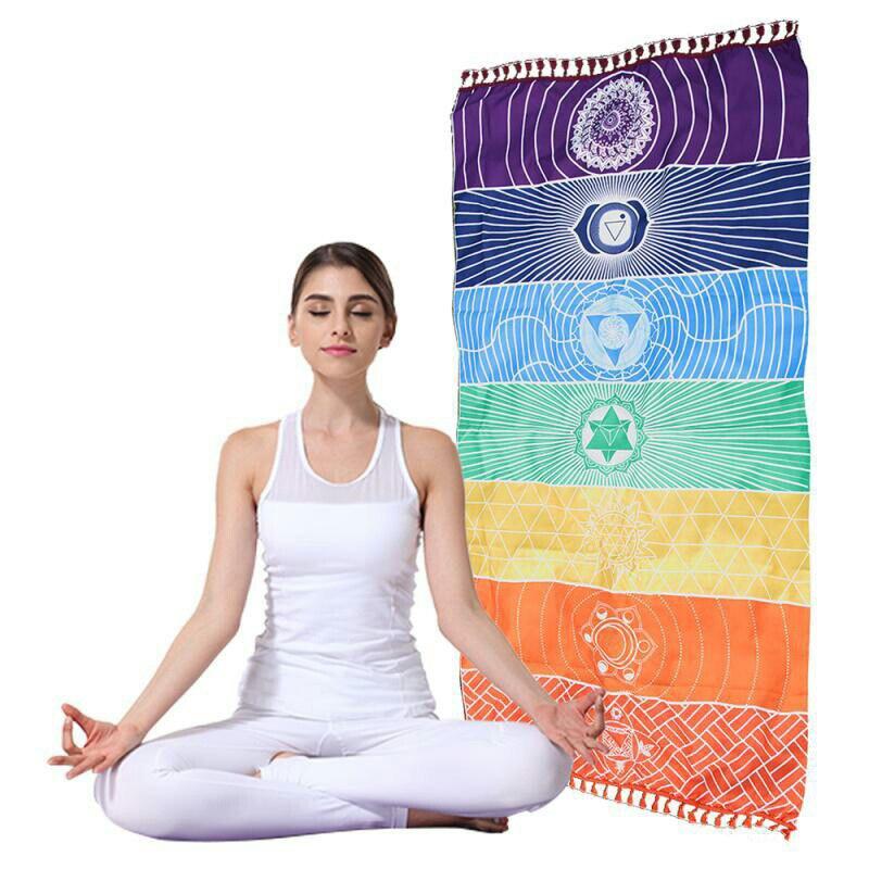 Bohemia India Mandala Blanket 7 Chakra Rainbow Stripes Tapestry Beach Towel Yoga Mat Bath Towel Colorful Curtain Panic Mat