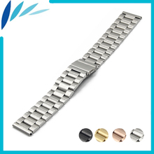 Stainless Steel Watch Band 18mm 20mm 22mm 23mm 26mm for Seiko Folding Clasp Strap Quick Release Loop Belt Bracelet Black Silver