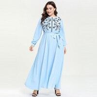 2019 Women Bohemian Dress Floral Embroidery Beach Boho Long Dress Big Swing Zipper Up Nursing Maxi Dresses Vestidos XXXL 4XL