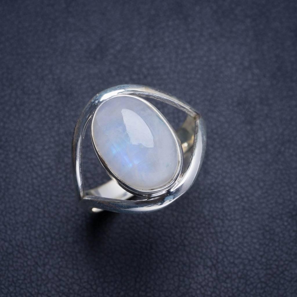 Natural Rainbow Moonstone Handmade Unique 925 Sterling Silver Ring 8.5 Y4576 natural rainbow moonstone handmade unique 925 sterling silver ring 6 75 y4681