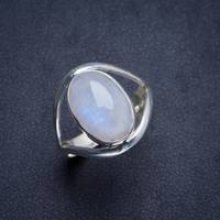 Natural Rainbow Moonstone Handmade Unique 925 Sterling Silver Ring 8.5 Y4576