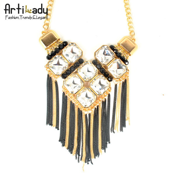 Artilady fashion gold plating crystal necklace charm tassels party necklace jewelry