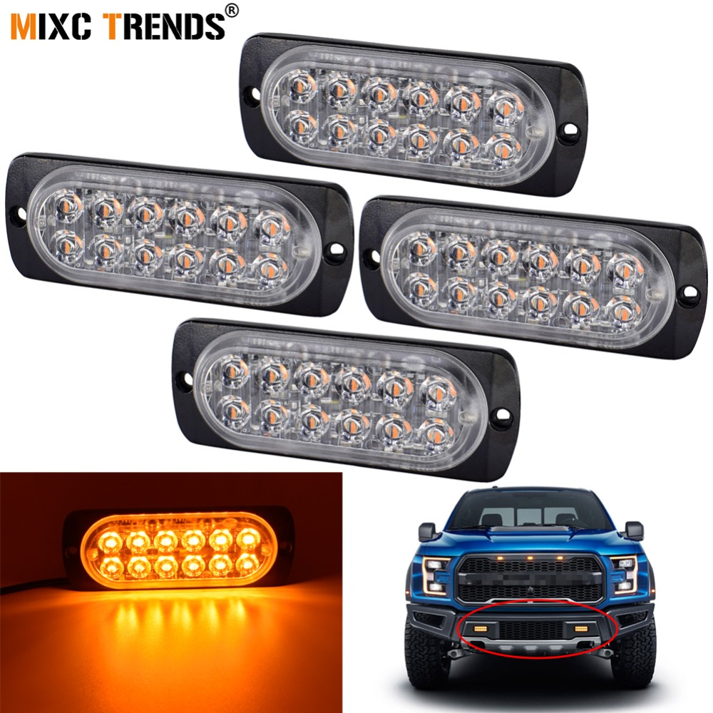 2x Amber 3 LED Waterproof Grille Car Truck Strobe Flash Emergency Warning Lights