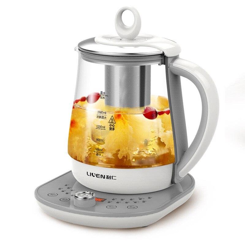 1.8L Pot de santé en verre de grande capacité multifonction cuisson thé soupe bouilloire électrique en acier inoxydable Base de chauffage